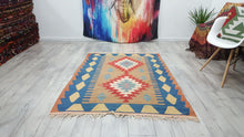 Natural Decor Vintage Turkish Kilim Rug Blue Borders