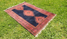 "Navy Turkish area rug ""Burdur"" - bosphorusrugs  - 1"