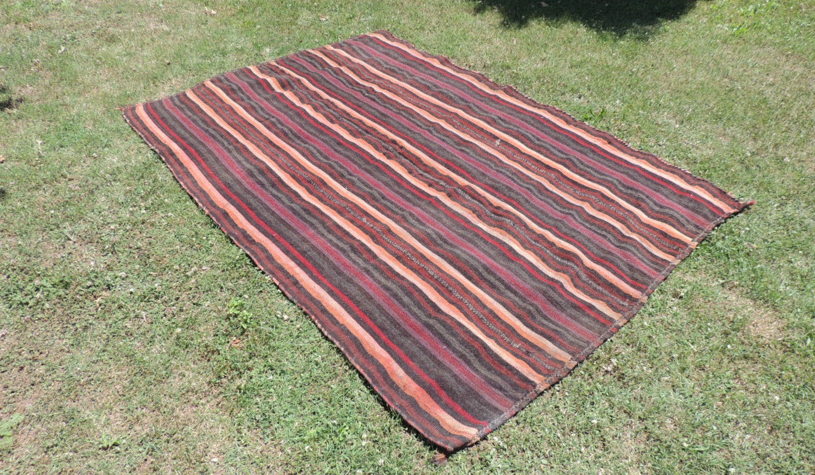 Goat Hair Striped Turkish nomad kilim - bosphorusrugs  - 1