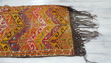 Nomadic Turkish Kilim Semi Antique Handwoven Chevron Patterns