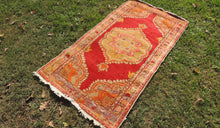 3x6 ft. Red and Orange Wool Turkish Area Rug - bosphorusrugs  - 1