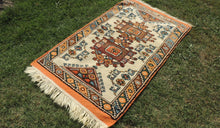 Orange and Beige Wool Turkish Carpet - bosphorusrugs  - 1
