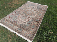 Amazing Turkish Kayseri Area Rug with Very Rare Ice Blue Color