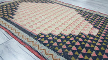 Persian Senneh Kilim Rug Black Background Pink Motifs Turquoise Borders