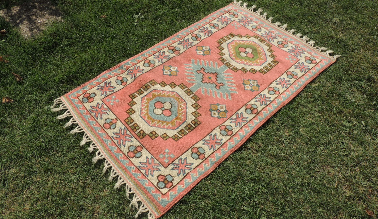 Pink Wool Turkish Area Rug Home Decor Carpet - bosphorusrugs  - 1