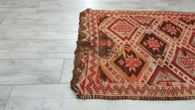 Primitive Turkish Kilim Rug Nomadic Art Embroidered Flatwoven