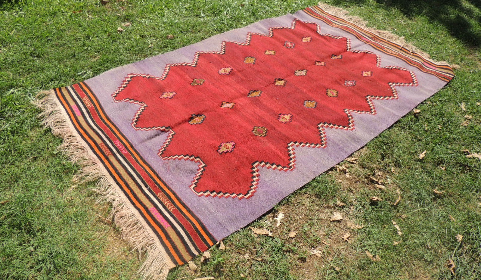 Handwoven Purple Tribal Kilim Rug - bosphorusrugs  - 1