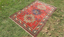 Antique Red Caucasian Kazakh Carpet