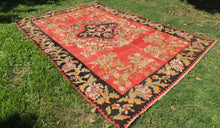 Red and Black Karabakh kilim rug floral - bosphorusrugs  - 1