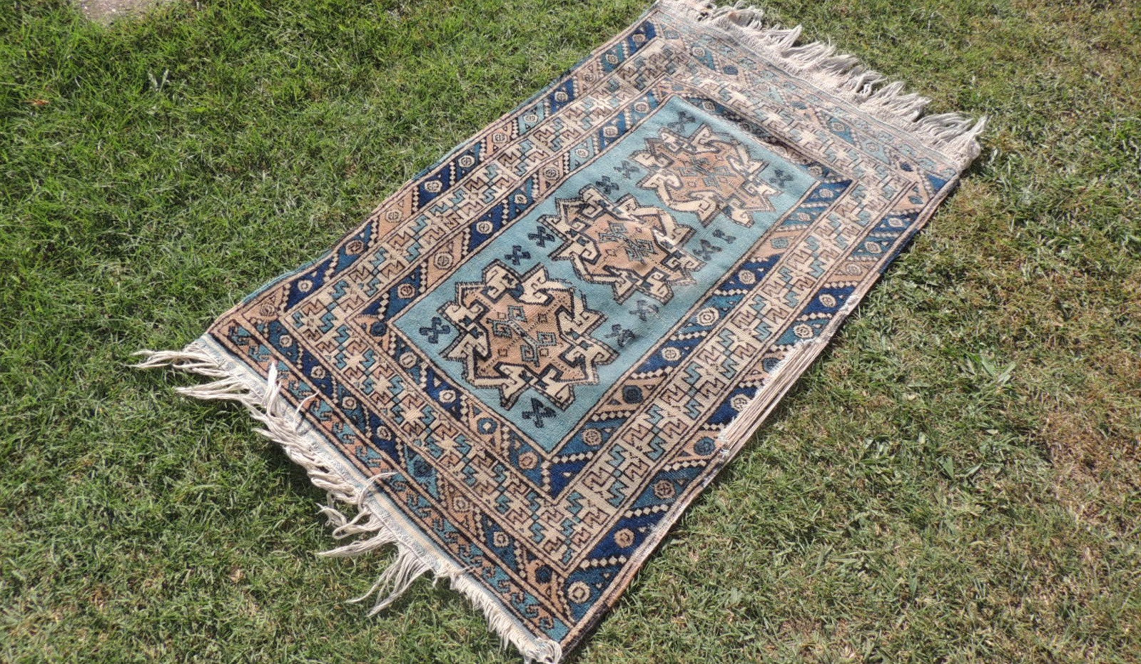 Vintage Geometric Caucasian Area Rug with Shades of Blue - bosphorusrugs  - 1