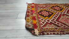 Small Bohemian Turkish Kilim Rug Embroidery Art Tribal Patterns
