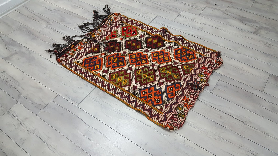 Small Boho Kilim Rug Rams Horn Patterns Meaning Fertility