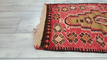 Small Turkish Red Kilim Rug Semi Antique Kilim