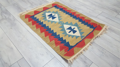 Small Turkish Kilim Rug Latte Coffee Colour Red Borders