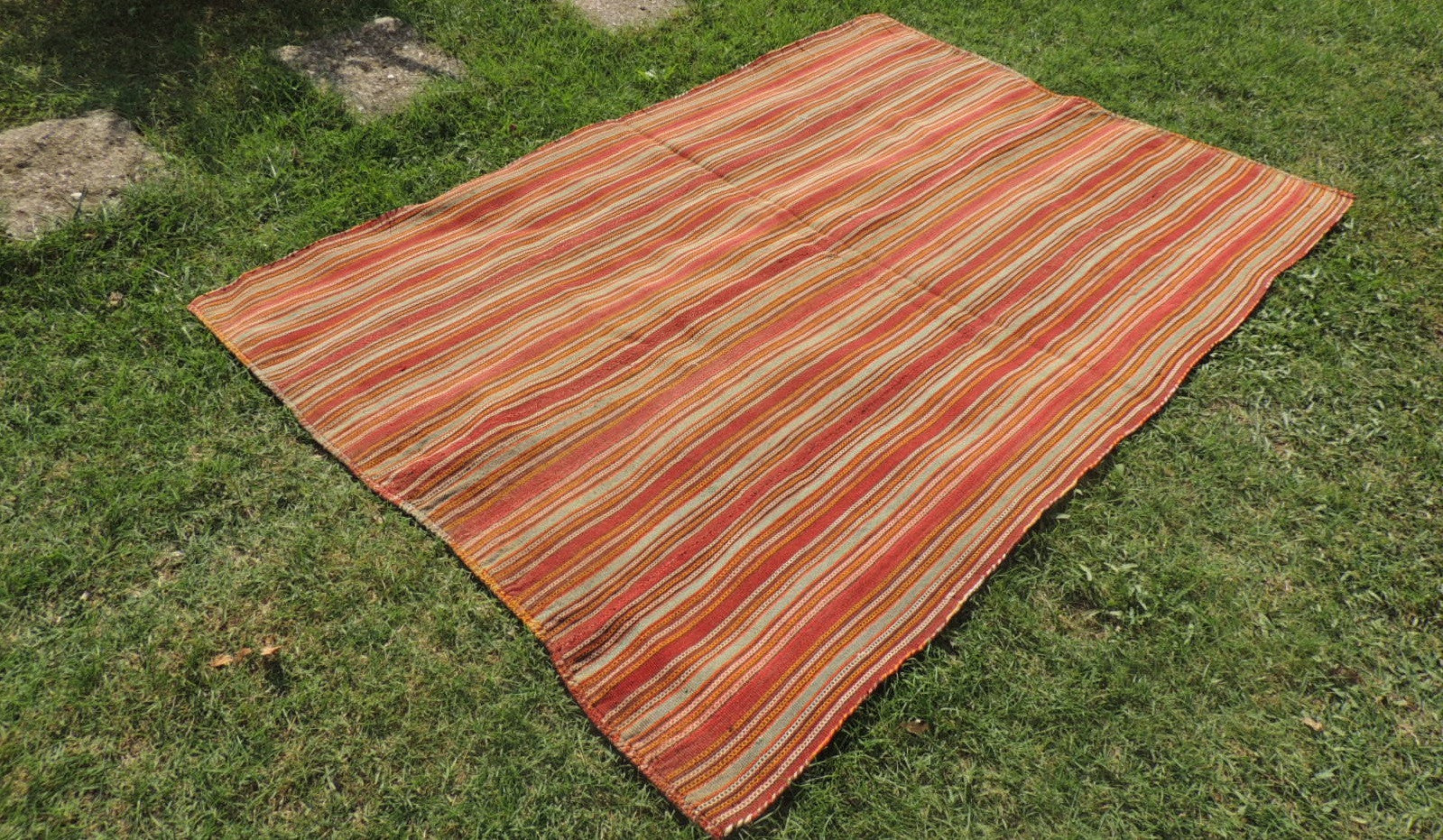 Striped Natural Kilim Rug - bosphorusrugs  - 1