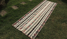 White striped Boho Runner Kilim Rug - bosphorusrugs  - 1