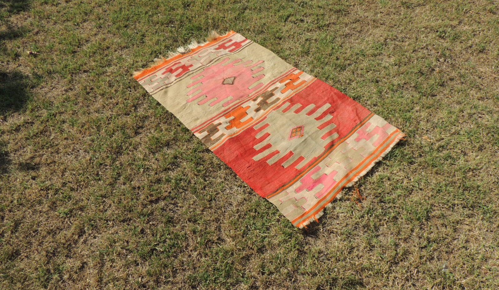 Small Boho Turkish kilim rug - bosphorusrugs  - 1