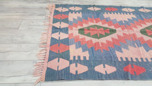 Turkish Kilim Rug Blue Soft Pink and Red Colour