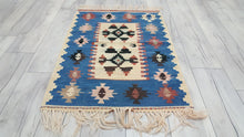 Turkish Kilim Rugs Blue Borders Beige Background