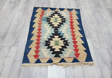 Vintage Turkish Kilim Rug Shades of Blue