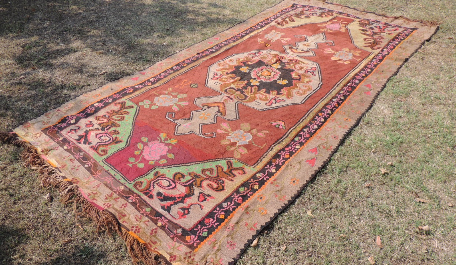 Brown Kars kilim rug - bosphorusrugs  - 1
