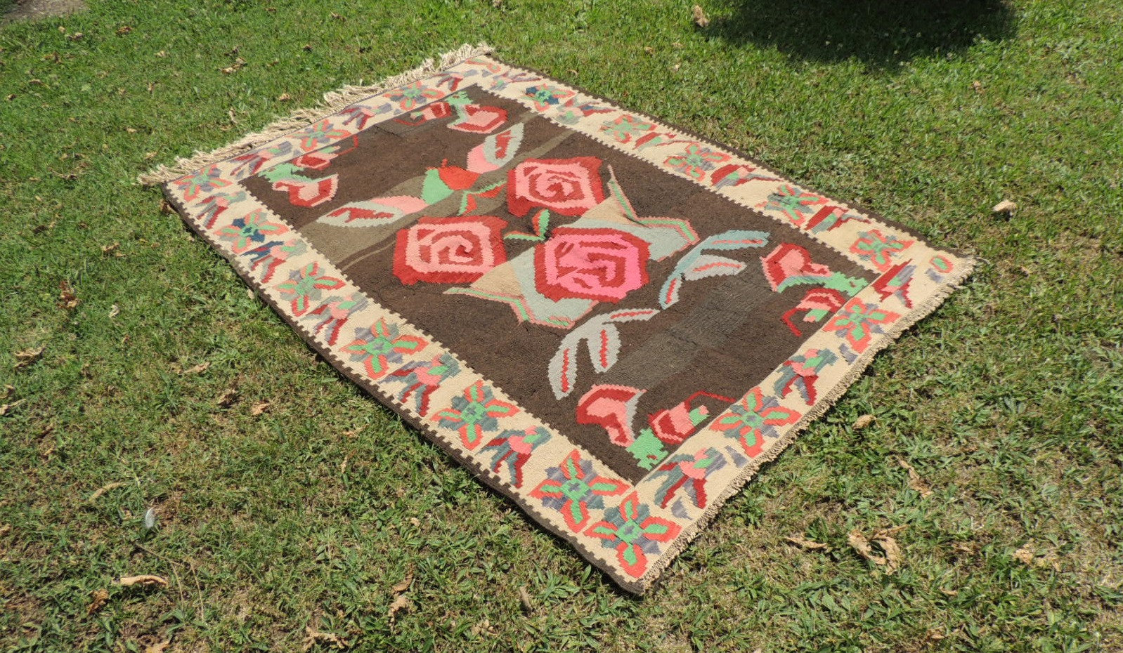 Undyed floral Turkish kilim - bosphorusrugs  - 1