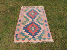 Geometric Turkish Kilim Rug with Lovely Colors