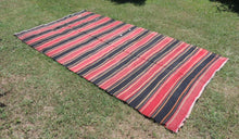 Red and black Striped Nomad kilim - bosphorusrugs  - 1