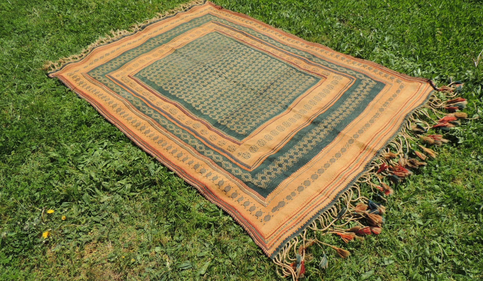 Green tribal kilim from Central Anatolia - bosphorusrugs  - 1