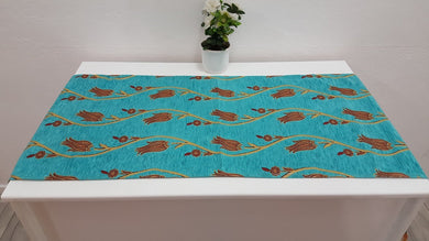 Turquoise Colour Tapestry Runner Ottoman Tulips