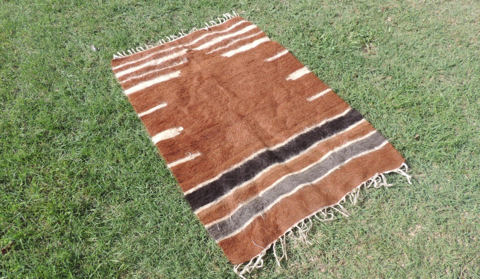 Brown Natural Undyed Goat Hair Turkish Prayer Rug - bosphorusrugs  - 1