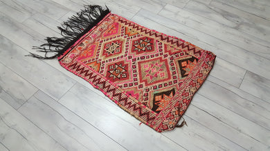 Vintage Bohemian Pinkish Turkish Kilim Rug