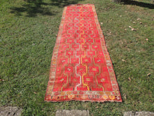 1940's Unique Red Runner Rug with Rare Design
