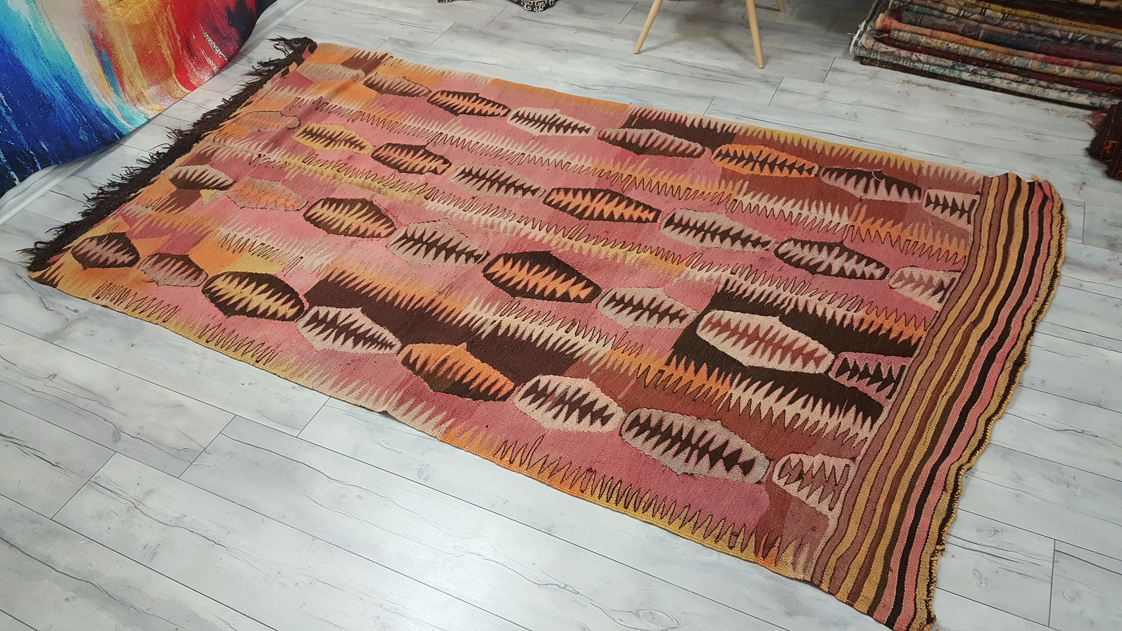 Vintage Turksh Pastel Coloured Kilim Rug Unique Designed Flatweave