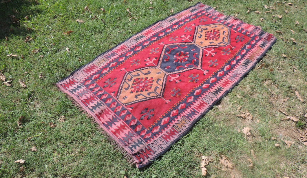 3x6 ft Kilim Rug from Turkey Flatwoven Area Rug