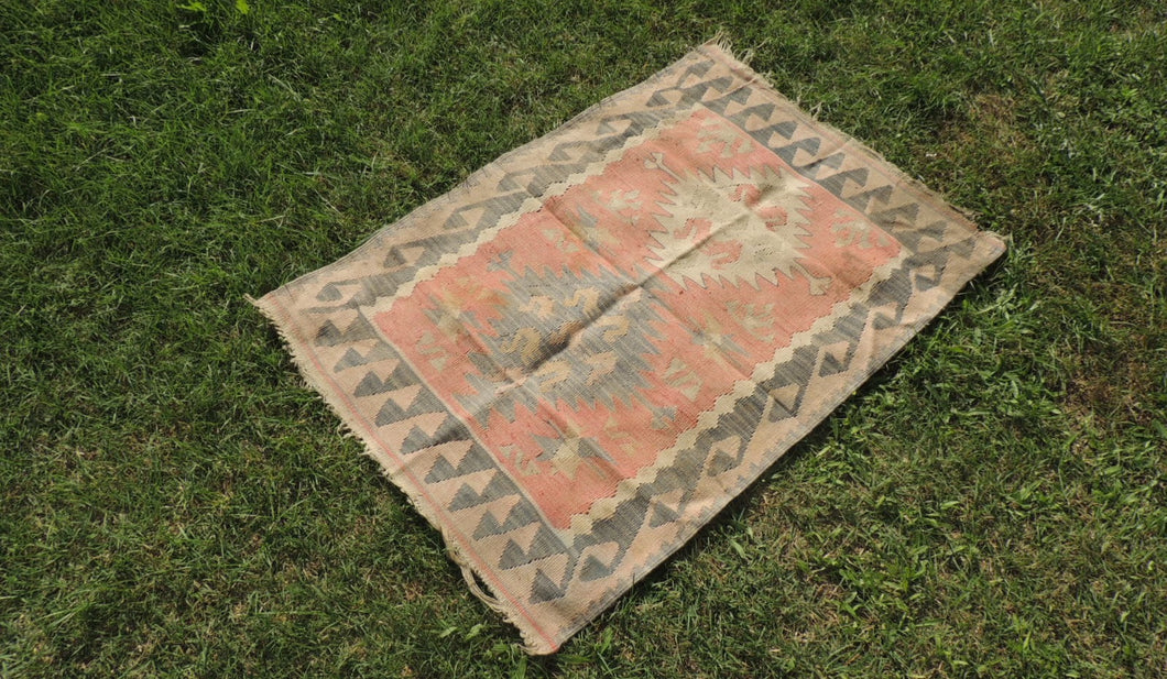 Turkish Kilim Rug with Water Way Design on Borders