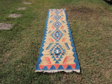Runner Kilim with Geometrical Patterns Blue Borders and Light Mustard Colors
