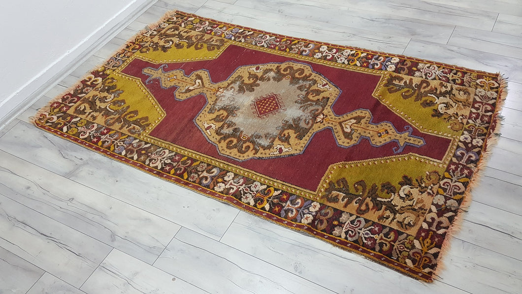 Vintage Exotic Turkish Area Rug with Rare Colors