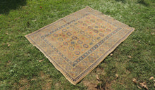 Yellow Vintage Worn Turkish Carpet On Sale - bosphorusrugs  - 1