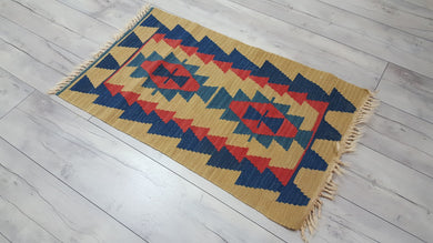 Wheat Colour Vintage Turkish Kilim Rug Blue and Red Borders
