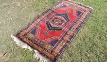 Navy and Red color Vintage Turkish Area rug - bosphorusrugs  - 1