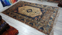 Wool Turkish Milas Rug Blue Beige and Pastel Colours