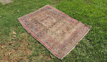 Turkish Kayseri Area Rug with Faded and Worn Surface Cool Antique Look