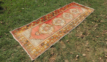 Hand knotted Turkish Runner Carpet with Worn Surface - bosphorusrugs  - 1