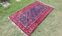 Navy and Red Turkish Wool Carpet Yagcıbedir - bosphorusrugs  - 1