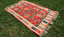 Red Balkan kilim rug - bosphorusrugs  - 1