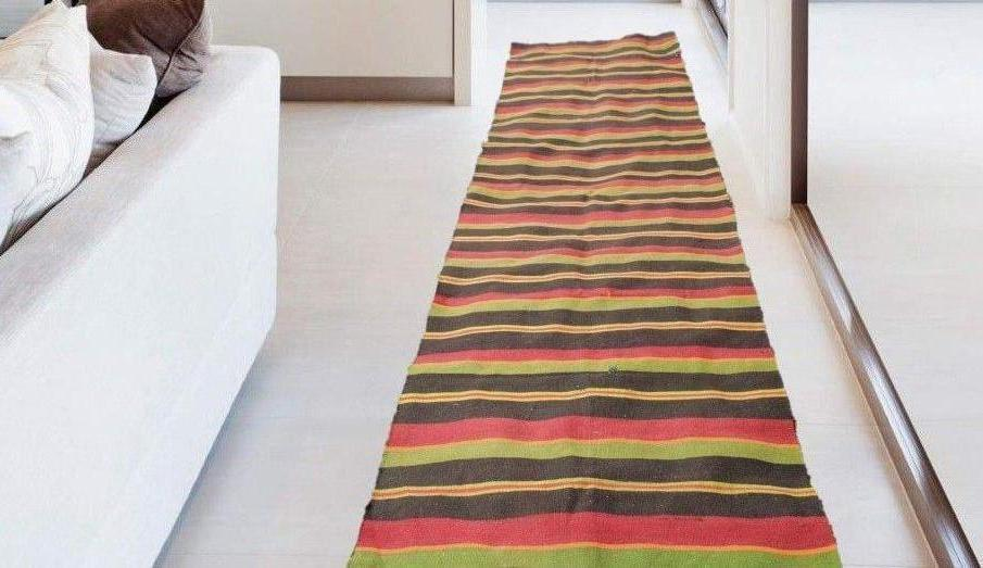 Striped Turkish Runner Retro Kilim for