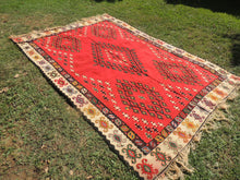 6,5'x9,8' feet Antique Balkan Kilim Red Background