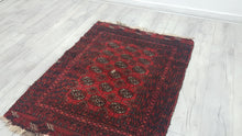 3x5 feet Antique Red Turkoman Area Rug with Bokhara Design