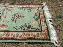 Vintage Decorative Wool Turkish Carpet with Lovely Mint Color
